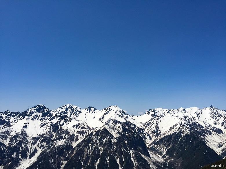 蝶ヶ岳からの穂高連峰と槍ヶ岳