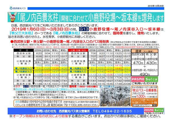 尾ノ内百景氷柱 バス