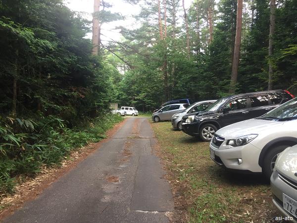 餓鬼岳 白沢登山口駐車場